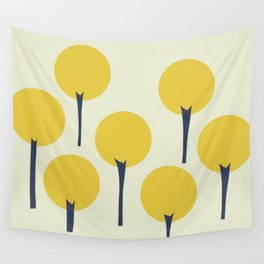 Yellow Pop Trees Wall Tapestry