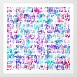Girly Pink Purple Teal Artsy Abstract Geometric Art Print