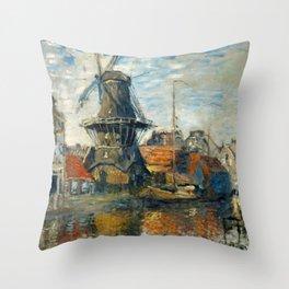 "Claude Monet ""The Windmill, Amsterdam"", 1871 Throw Pillow"