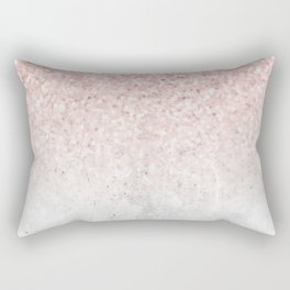 She Sparkles Rose Gold Pink Concrete Luxe Rectangular Pillow