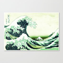 The Great Wave Green Canvas Print