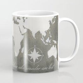 Not All Who Wander - World Map Coffee Mug