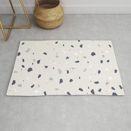Midnight Navy Gray Creme Terrazzo #1 #decor #art #society6 Rug