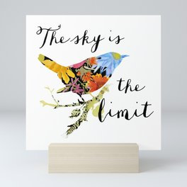 Bird Filled with Watercolor Flowers and Saying Mini Art Print