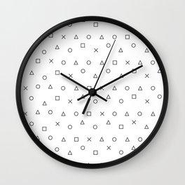 gaming pattern - gamer design - playstation controller symbols Wall Clock