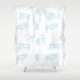 Woodland Critters in Winter Blue Shower Curtain