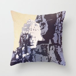 Watercolor of Khmer/Buddhist temple of the Bayon at Angkor Wat ruins- Siem Reap, Cambodia Throw Pillow