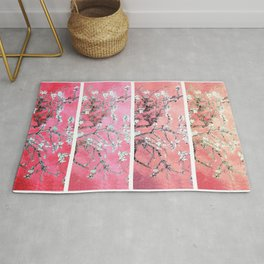 Van Gogh Almond Blossoms Deep Pink to Peach Collage Rug