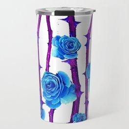BABY BLUE ROSES &  PURPLE THORN CANES Travel Mug