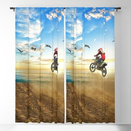 Motocross High Flying Jump with the Birds Blackout Curtain