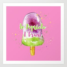 Summer vibe. Watercolor illustration of a popsicle. Art Print