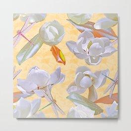 Magnolias and Dragonflies (Yellow Satin) Metal Print