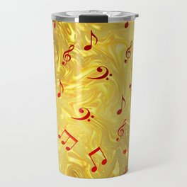 red music notes in golden festive paper background Travel Mug