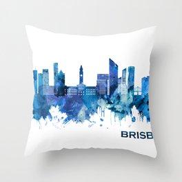 Brisbane Australia Skyline Blue Throw Pillow