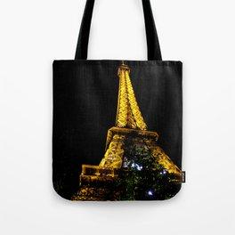 Eiffel Tower lit up at night, Paris Tote Bag