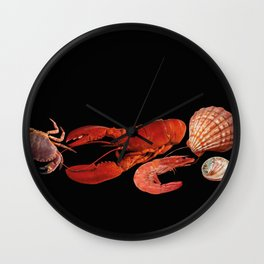 Seafood shell scallop lobster shrimps black Wall Clock