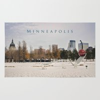 minneapolis Area & Throw Rugs featuring Minneapolis by Kimberley Britt
