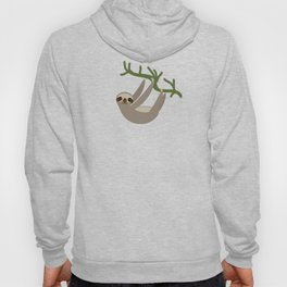 cute Three-toed sloth on green branch Hoody