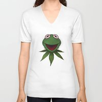 kermit V-neck T-shirts featuring Stoner Kermit The Frog  by Jonathan T. Burton