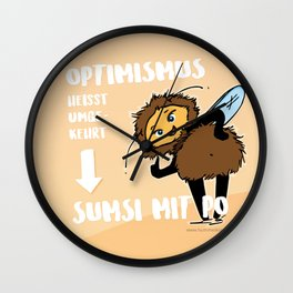 Optimismus (Optimism) means reading backwards Sumsi mit Po (Bumblebee with butt) Wall Clock
