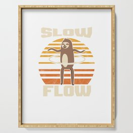 Slow Flow Retro Vintage Hula Hoop Hula Hooping Sloth Twirl Twirling Gymnastics Gymnasts Gift Serving Tray