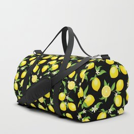 You're the Zest - Lemons on Black Duffle Bag