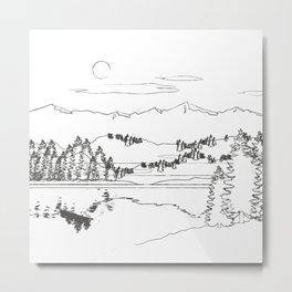 Minimal Mountain Lake Landscape 1 Metal Print