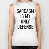 sarcasm Biker Tanks featuring Sarcasm (white) by Indy