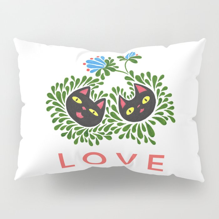 Black Cat Love Pillow Sham