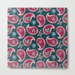 Christmas Paisley with Holly, Mistletoe and Poinsettia / Teal Metal Print