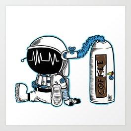 Coffee fueled astronaut Art Print