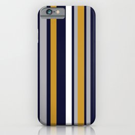 Modern Stripes in Mustard Yellow, Navy Blue, Gray, and White. Minimalist Color Block iPhone Case
