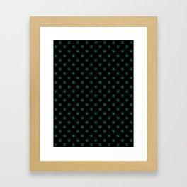Turquoise on Black Snowflakes Framed Art Print