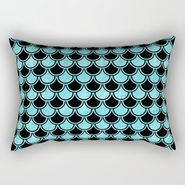 Mermaid Scales Blue Turquoise Teal on Black Rectangular Pillow