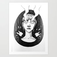tooth Art Prints featuring tooth by Jannicke Hansen