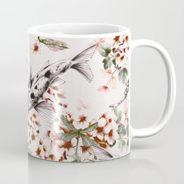 Asian fish among flowers Coffee Mug