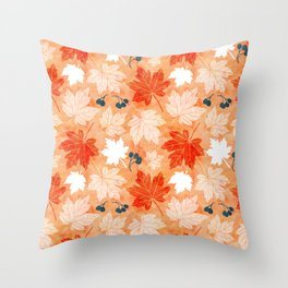 Autumn leaves in shades of orange Throw Pillow