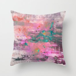 Mystical! - Abstract, pink, purple, red, blue, black and white painting Throw Pillow