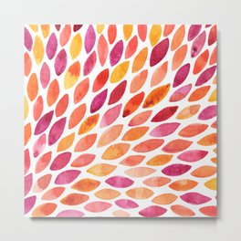 Watercolor brush strokes burst - autumn palette Metal Print