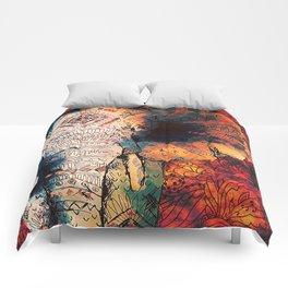 Indian Sketched Elephant Red Orange Comforters