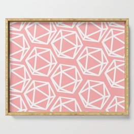 D20 - Pattern - Pink & White Serving Tray