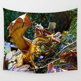 Golden Dragons Nest Wall Tapestry