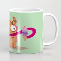 icecream Mugs featuring Icecream monster by Maria Jose Da Luz
