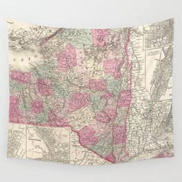 Vintage Map of New York (1864)  Wall Tapestry