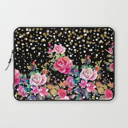 Modern watercolor spring floral and gold dots pattern Laptop Sleeve