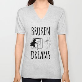 Broken dreams band disillusioned cat and dog Unisex V-Neck