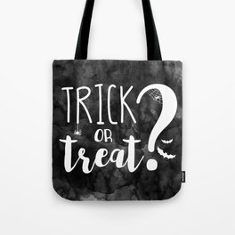 Trick Or Treat? | Black And White Tote Bag