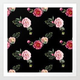 Pink Flora with Green Leaves Pattern Flower Art Print