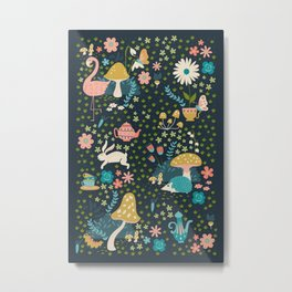 Wondering in Wonderland - Blue + Gold Metal Print