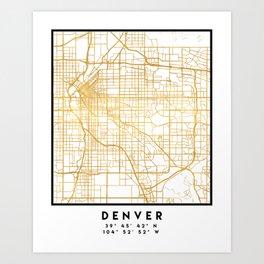 DENVER COLORADO CITY STREET MAP ART Art Print
